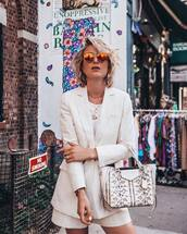 jacket,blazer,top,white blazer,shorts,white shorts,two-piece,bag,sunglasses,white