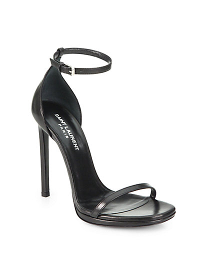 Saint Laurent Jane Leather Ankle Strap Sandals Saks Com