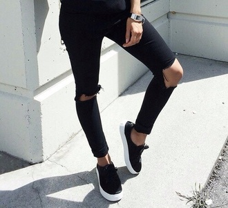 shoes sneakers black jeans ripped jeans