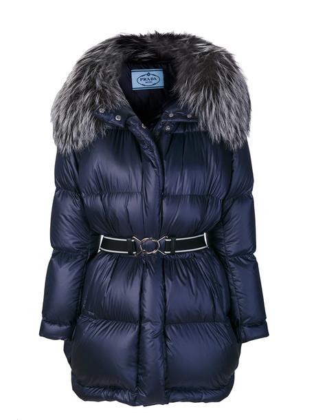 Prada jacket oversized fur fox women blue