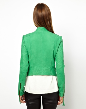 Y.A.S | Y.A.S Super Nubuck Leather Jacket in Green at ASOS