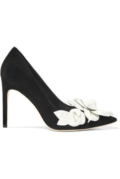 Sophia Webster suede pumps pumps floral suede black shoes