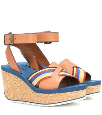 sandals wedge sandals leather brown shoes