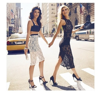 black dress midi dress summer dress heels lace dress white white dress bodycon dress body summer outfits prom dress spring outfits streetstyle high heels midi skirt bralette black and white crop tops black dress white skirt blonde hair skirt top