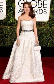 dress,salma hayek,alexander mcqueen,Golden Globes 2015