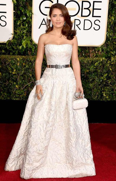 dress salma hayek alexander mcqueen Golden Globes 2015