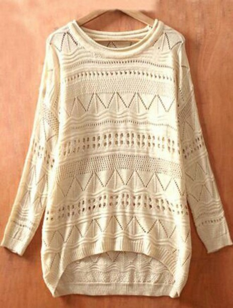 sweater patterned sweater cream sweater