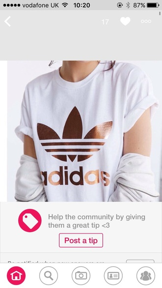 shirt adidas gold white white and gold top t-shirt blouse adidas belly top rose gold