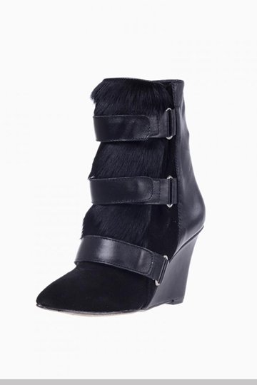 Suede Leather Calf Hair Wedge Boots [HXM8822]- US$120.52 - PersunMall.com