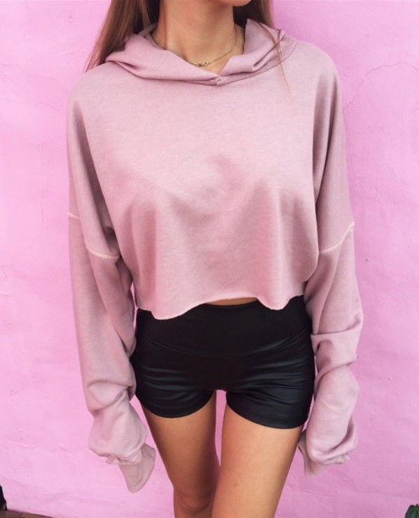 Sweater: tumblr, instagram, pink, hoodie, crop tops, crop, cropped ...