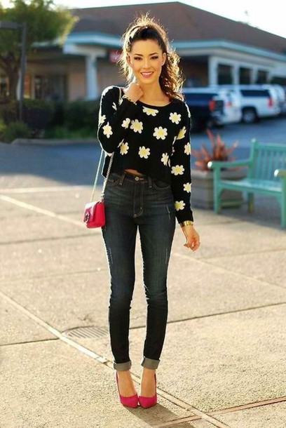 sweater clothes flowers high heels red high heels bag shoes jeans daisy sweater shirt pants top daisy crop outfit style t-shirt floral black