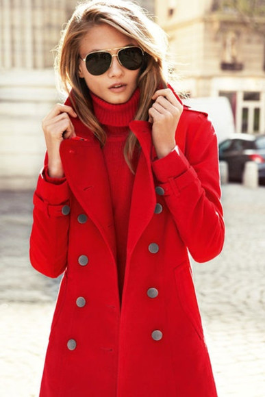 red coat coat red sunglasses classy blonde
