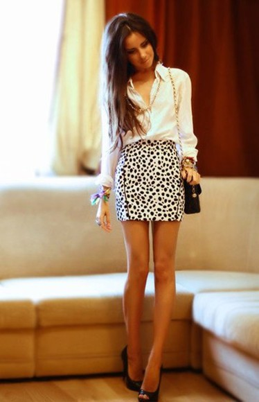 black skirt dots white dalmation b&w black and white animal print