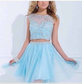 dress baby blue prom dress shiny dress