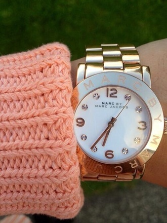 jewels marc jacobs gold watch watch marc jacobs watch cable knit orange neon girly bright cozy sweater sweater nail accessories marc by marc jacobs gold diamonds jewelry