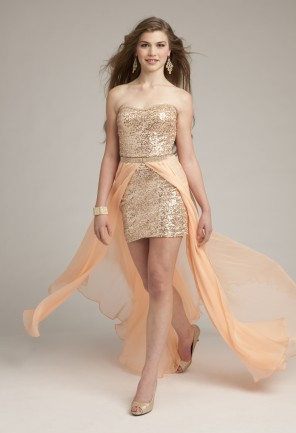 Strapless Sequin Dress With Detachable Skirt From Camille