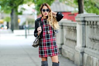 the marcy stop blogger fall dress tartan dress black leather jacket