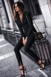 fashionedchic,blogger,jacket,pants,shirt,coat,jewels,fall outfits,blazer,black blazer,suit,sandals,high heel sandals,black bag