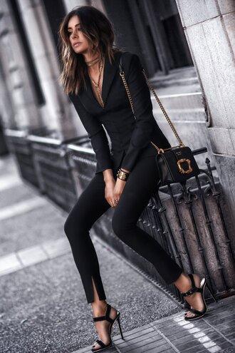 fashionedchic blogger jacket pants shirt coat jewels fall outfits blazer black blazer suit sandals high heel sandals black bag