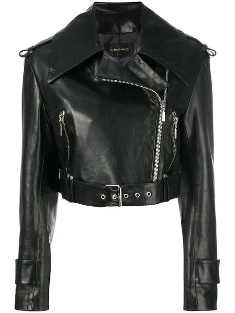 Plein Sud jacket biker jacket cropped women leather black