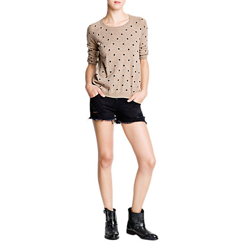 Buy Mango Polka Dot Jumper, Light Beige online at John Lewis