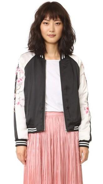 jacket bomber jacket embroidered black