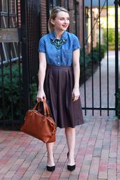 poor little it girl,blogger,top,bag,denim blouse,denim,necklace