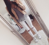 jeans,leather jacket,ripped jeans,nike air force 1,white jeans,beige jacket,grey t-shirt,jacket,top