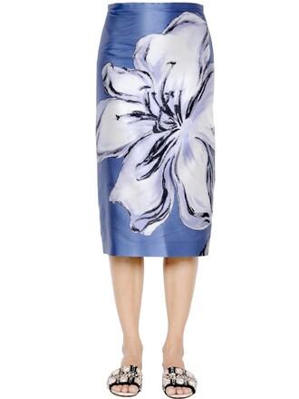 skirt pencil skirt white blue