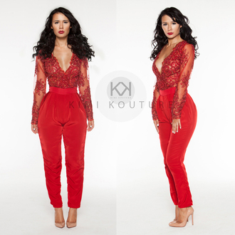 red lace jumpsuit couture embroidered