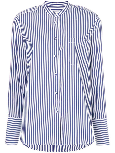 KHAITE shirt striped shirt women cotton blue top