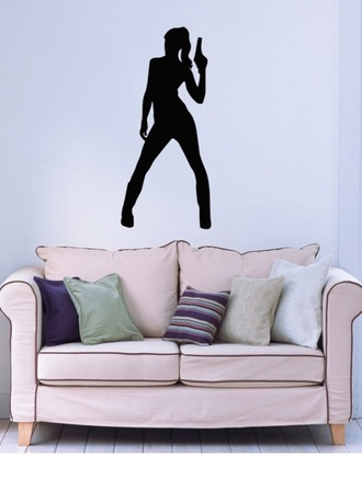home accessory women gangster gun pistol wall decor wall sticker wall tattoo sofa