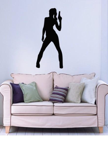 home accessory women gangsta gun pistol wall decor home stickers wall tattoo sofa
