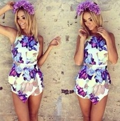 jumper,jumpsuit,dress,purple dress,purple,flower crown,summer outfits,flowers,romper,summer dress,blonde hair,hat