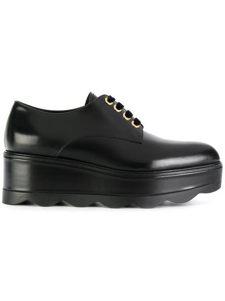 Prada women shoes platform shoes lace leather black