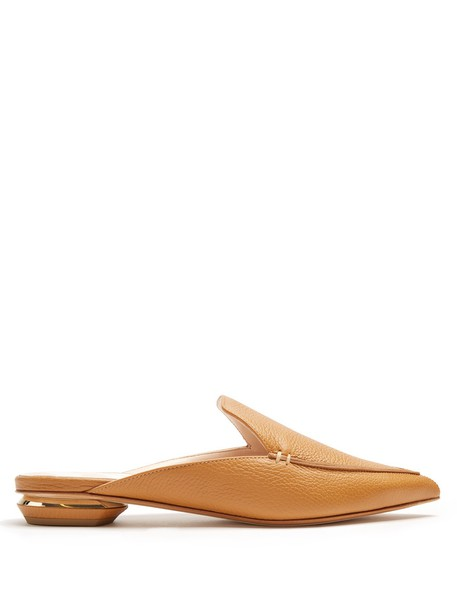 Nicholas Kirkwood backless loafers leather tan shoes