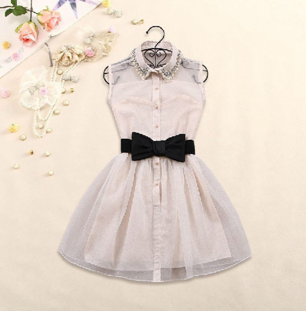 Free  bow belt Spring summer 2014 new  fashion sweet little pearl diamond lapel waist sleeveless dress gauze tutu ,black,beige-in Dresses from Apparel & Accessories on Aliexpress.com