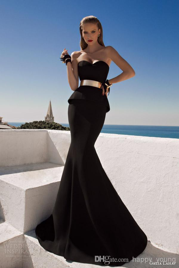 evening dress gold belt dress mermaid prom dress backless evening dress black prom dress black evening dresses