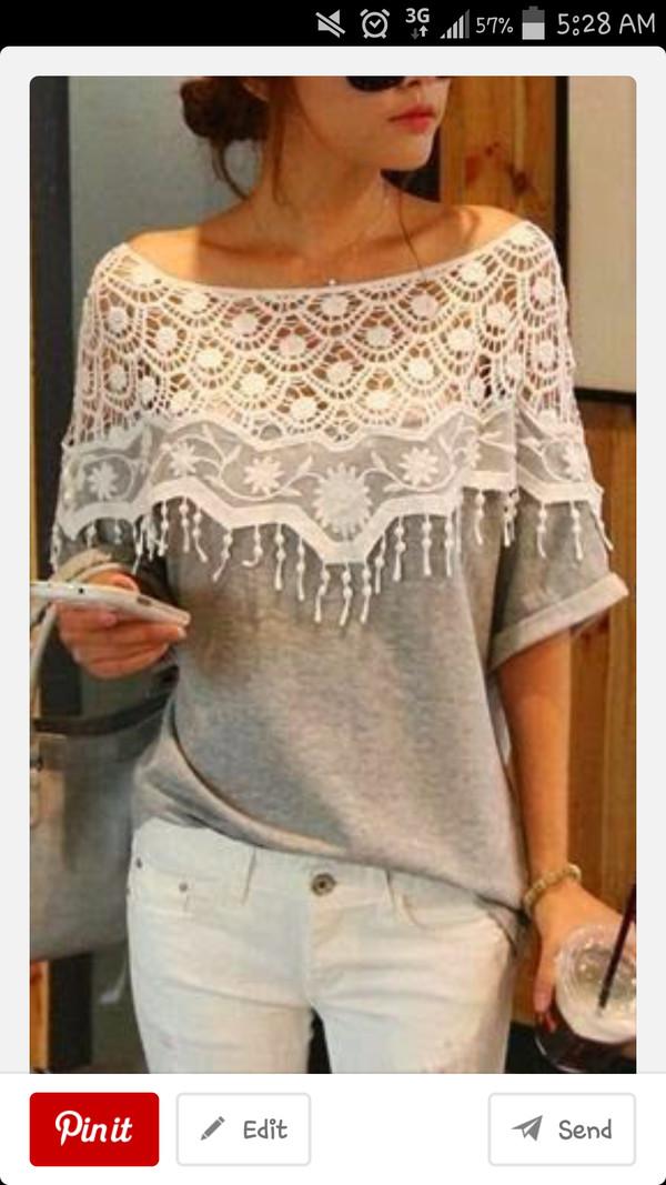 top lace grey white dress crochet pretty top fashion korean fashion sweater
