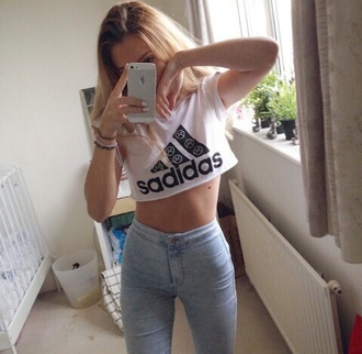 top crop tops jeans t-shirt blouse adidas sadidas :( smiley emoji print