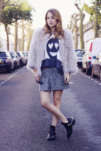at fashion forte blogger jacket sweater skirt sunglasses jewels shoes