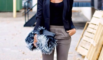 bag fluffy black n gray fury bag pants jacket fashion fancy pants blue blazer structured blazer grey pants leather clucth fringed clutch white pumps office outfits office wear black top fold clutch