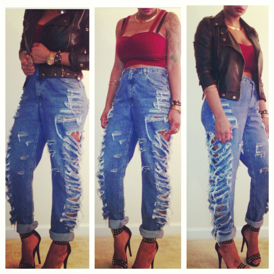 High Waisted Side Ripped Distressed Boyfriend Jeans Slit ...
