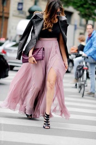 purple purple skirt lilac maxi skirt pink maxi skirt skirt nina dobrev high slit skirt flowy sheer