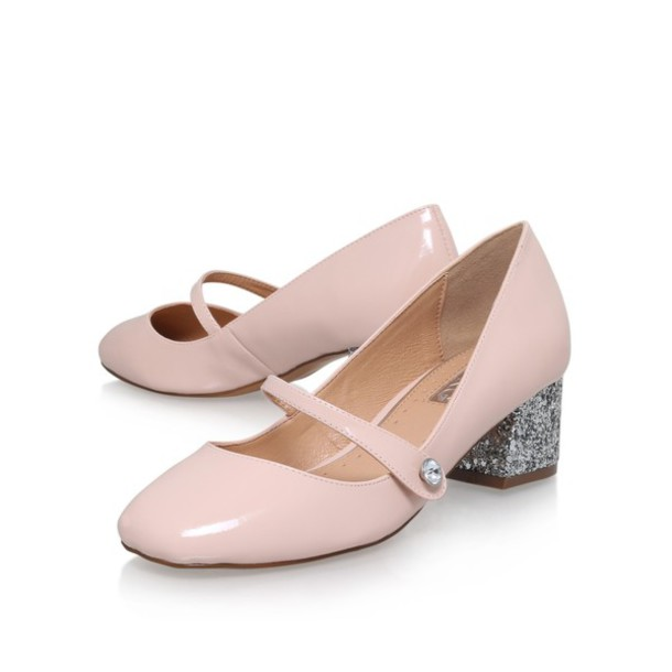 Shoes: mary jane shoes, mid heel, glitter heel shoes, baby pink ...
