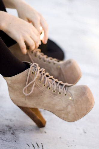 shoes beige shoes high heels brown high heels jeffrey campbell boots heels tan brown cute high grey modern wood platform shoes laces platform lace up boots