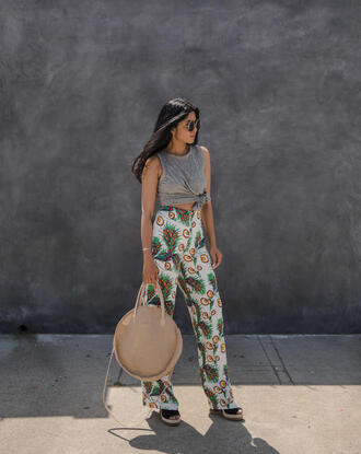 pants tumblr top grey too wide-leg pants printed pants bag round bag crop tops sunglasses spring outfits sandals wedges wedge sandals round tote