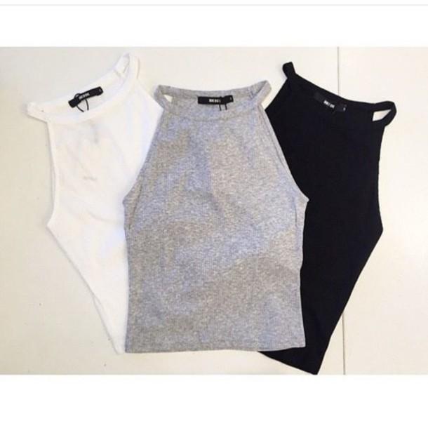 top crop tops tank top style fashion t-shirt shirt beautiful white grey black cute