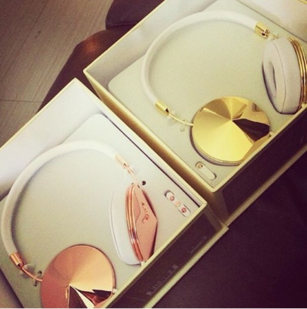 headphones gold jewels earphones gold bronze sequin