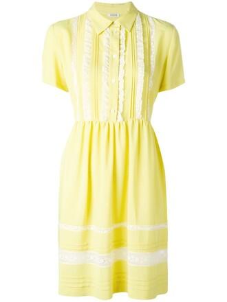 dress women cotton silk yellow orange